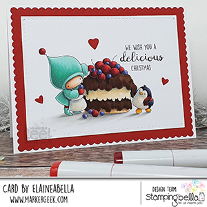 www.stampingbella.com: rubber stamp used BUNDLE GIRL and PENGUIN bake a cake card by Elaine Hughes