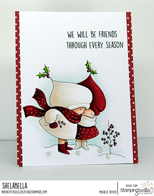 www.stampingbella.com. Rubber stamp used: BUNDLE GIRL WINTER FRIENDS. Card by Michele Boyer