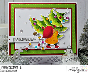 www.stampingbella.com. Rubber stamp used: BUNDLE GIRL with a Tree. Card by Jenny Dix