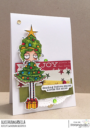 www.stampingbella.com: rubber stamp used: CHRISTMAS TREE ODDBALL card by Alice Huang