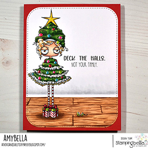 www.stampingbella.com: rubber stamp used: CHRISTMAS TREE ODDBALL card by Amy Young