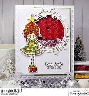 www.stampingbella.com: rubber stamp used: CHRISTMAS TREE ODDBALL card by Jenny Dix
