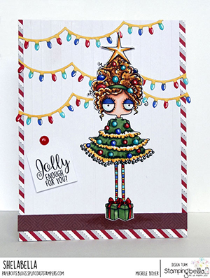 www.stampingbella.com: rubber stamp used: CHRISTMAS TREE ODDBALL card by Michele Boyer