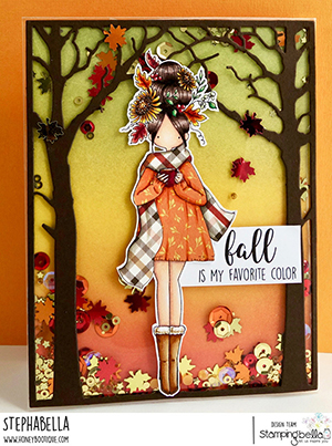 www.stampingbella.com: rubber stamp used: CURVY GIRL LOVES AUTUMN card by Stephanie Hill