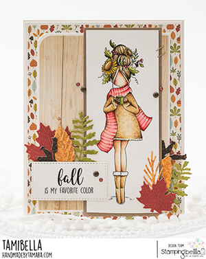 www.stampingbella.com: rubber stamp used: CURVY GIRL LOVES AUTUMN card by Tamara Potocnik
