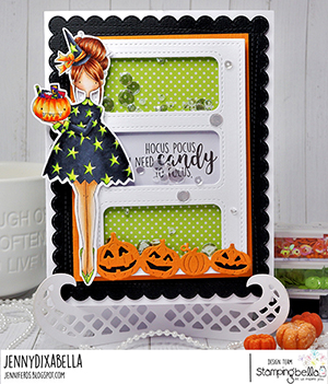 www.stampingbella.com: rubber stamp used: CURVY GIRL LOVES HALLOWEEN card by Jenny Dix