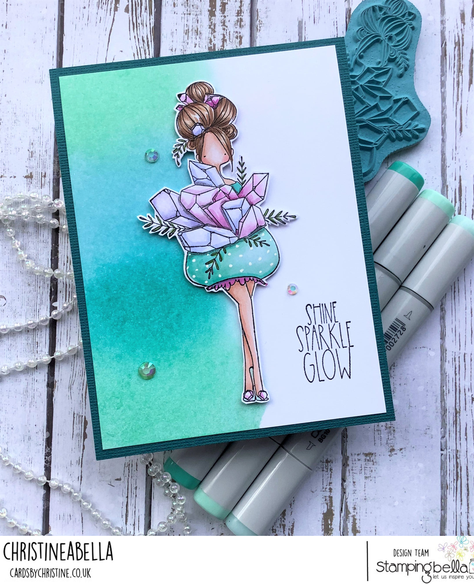 www.stampingbella.com: rubber stamp used CURVY GIRL COLLECTING CRYSTALS card by Christine Levison