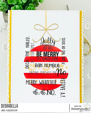www.stampingbella.com: Rubber stamp used: FESTIVE ODDBALL SENTIMENT SET card by Debra James