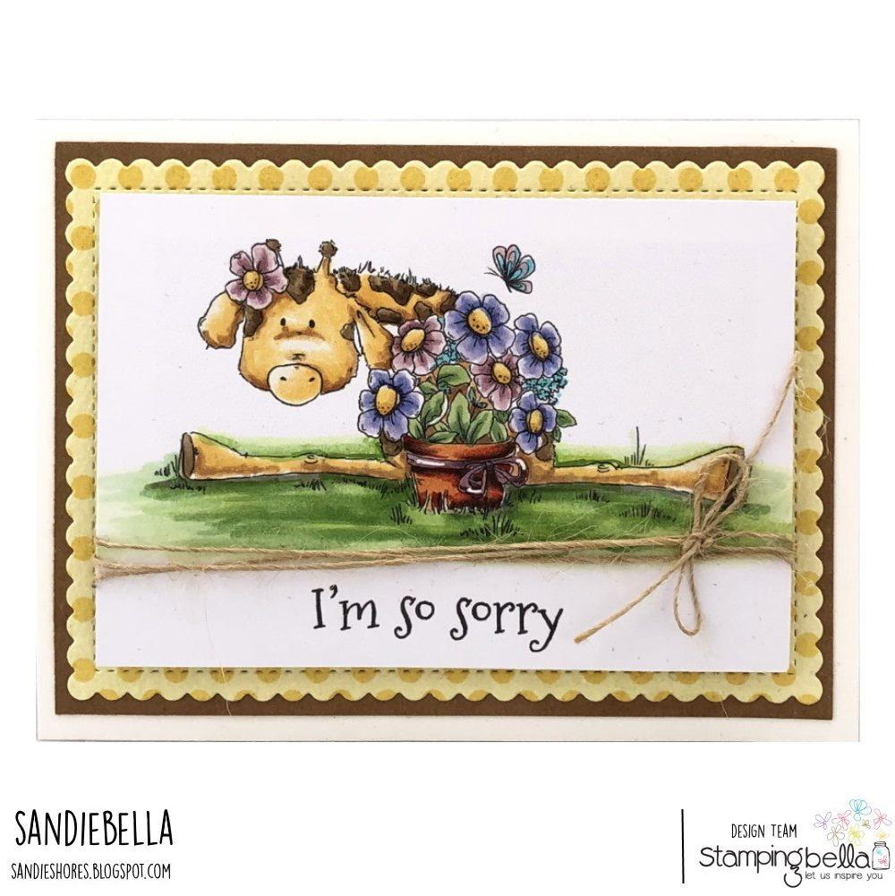 www.stampingbella.com : rubber stamp used- GIGI the Giraffe stuffie, card by Sandie Dunne