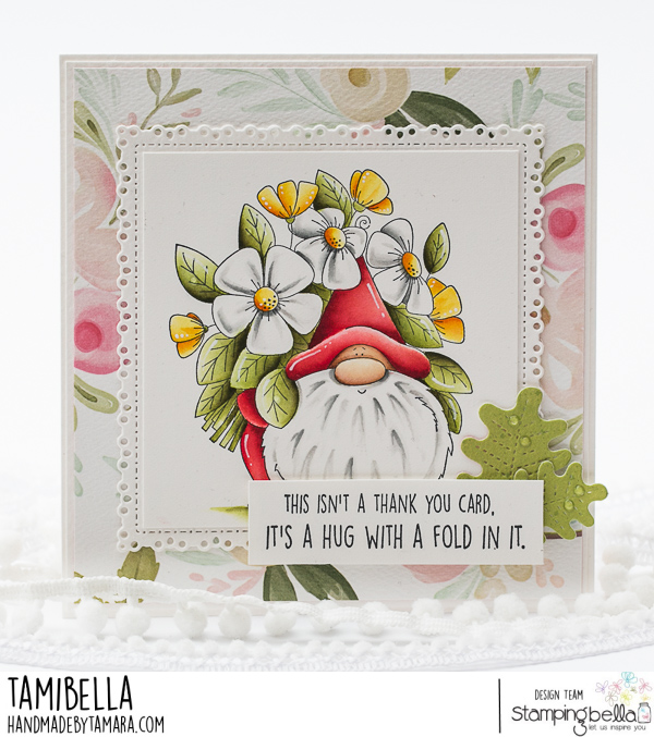 www.stampingbella.com: rubber stamp used GNOME BOUQUET.  Card by Tamara Potocnik