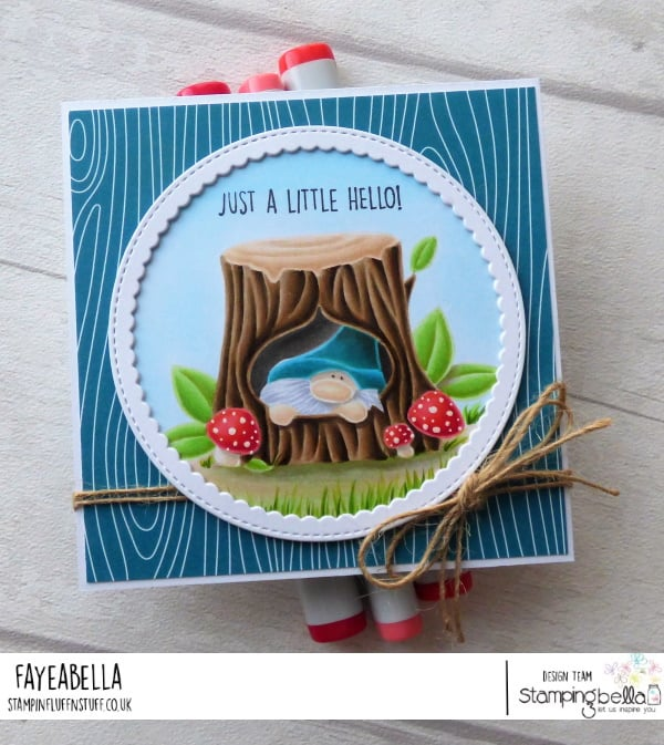 www.stampingbella.com: rubber stamp used GNOME IN A TREES card by FAYE WYNN JONES