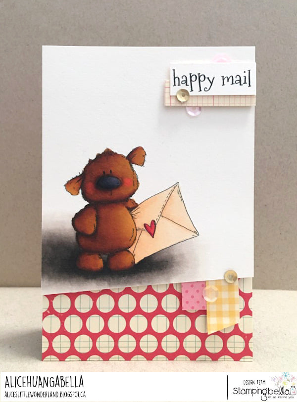 www.stampingbella.com : rubber stamp used- Harry the Happy mail stuffie card by ALice Huang