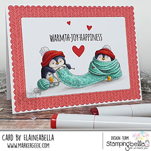 www.stampingbella.com: rubber stamp used Knitting Penguin. Card by Elaine Hughes