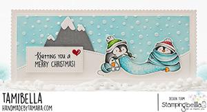 www.stampingbella.com: rubber stamp used Knitting Penguin. Card by Tamara Potocnik