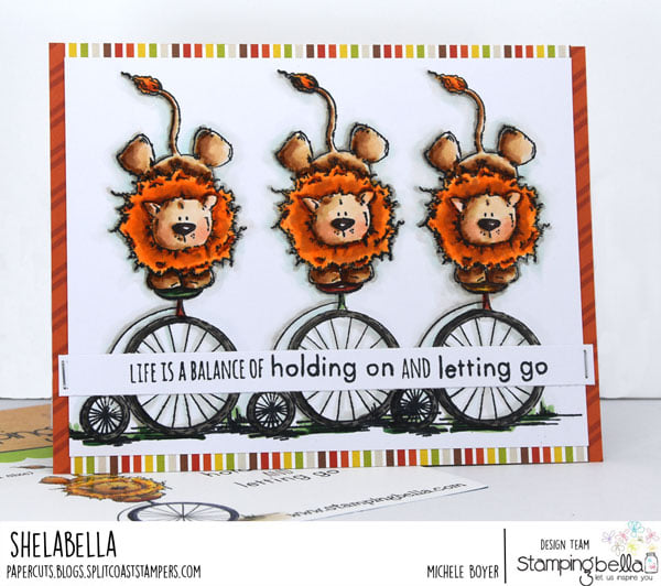 www.stampingbella.com : rubber stamp used-LEO THE BALANCING STUFFIE card by Michele Boyer