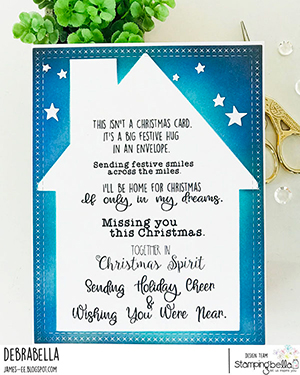 www.stampingbella.com : rubber stamp used long distance festive sentiment set. card by Debra James