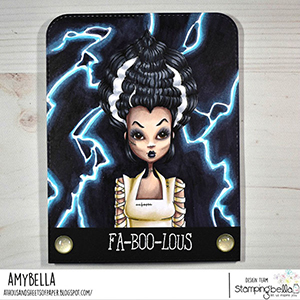 www.stampingbella.com: rubber stamp used MOCHI BRIDE OF FRANKENSTEIN card by Amy Young