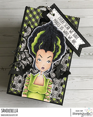 www.stampingbella.com: rubber stamp used MOCHI BRIDE OF FRANKENSTEIN card by Sandie Dunne