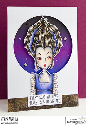 www.stampingbella.com: rubber stamp used MOCHI BRIDE OF FRANKENSTEIN card by Stephanie Hill