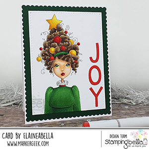 www.stampingbella.com: rubber stamp used: MOCHI CHRISTMAS GIRL card by Elaine Hughes