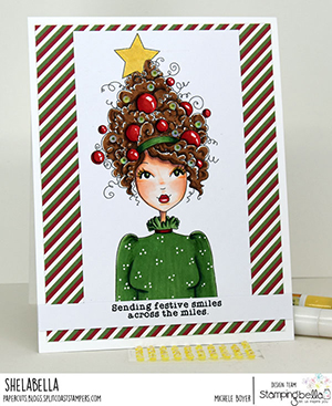 www.stampingbella.com: rubber stamp used: MOCHI CHRISTMAS GIRL card by Michele Boyer