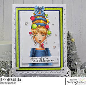 www.stampingbella.com: rubber stamp used MOCHI ORNAMENT GIRL card by Jenny Dix