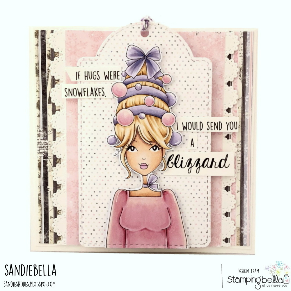 www.stampingbella.com: rubber stamp used MOCHI ORNAMENT GIRL card by Sandie Dunne
