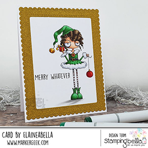 www.stampingbella.com: rubber stamp used: GIRL ELF card by Elaine Hughes