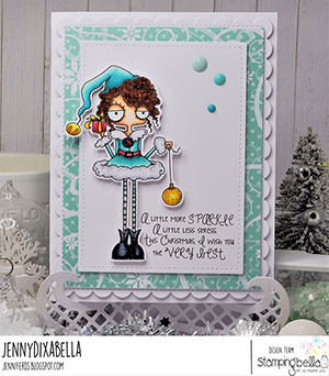 www.stampingbella.com: rubber stamp used: GIRL ELF card by Jenny Dix