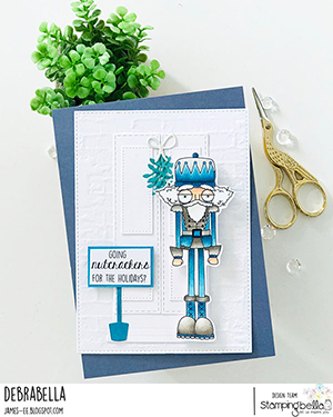 www.stampingbella.com: rubber stamp used: ODDBALL NUTCRACKER card by Debra James