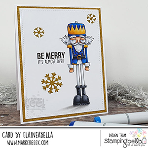www.stampingbella.com: rubber stamp used: ODDBALL NUTCRACKER card by Elaine Hughes
