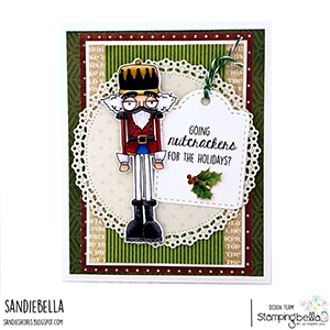 www.stampingbella.com: rubber stamp used: ODDBALL NUTCRACKER card by Sandie Dunne