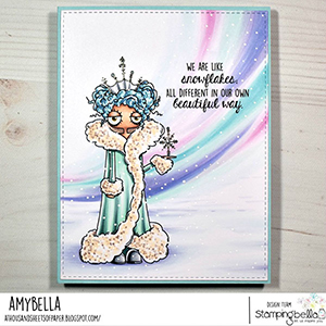 www.stampingbella.com: rubber stamp used: ODDBALL SNOW QUEEN card by AMY YOUNG