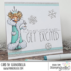 www.stampingbella.com: rubber stamp used: ODDBALL SNOW QUEEN card by Elaine Hughes