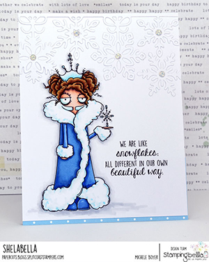 www.stampingbella.com: rubber stamp used: ODDBALL SNOW QUEEN card by Michele Boyer