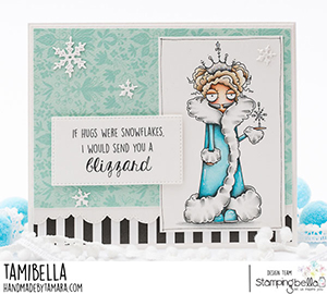 www.stampingbella.com: rubber stamp used: ODDBALL SNOW QUEEN card by Tamara Potocnik