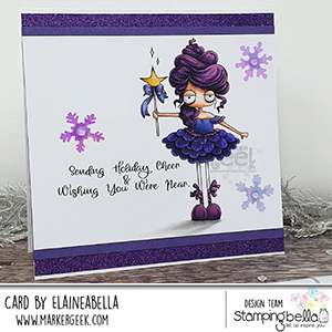 www.stampingbella.com: rubber stamp used: ODDBALL SUGAR PLUM FAIRY card by Elaine Hughes