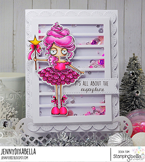 www.stampingbella.com: rubber stamp used: ODDBALL SUGAR PLUM FAIRY card by Jenny Dix