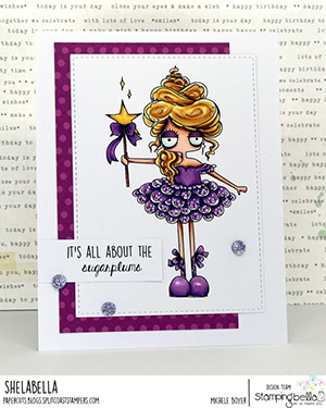 www.stampingbella.com: rubber stamp used: ODDBALL SUGAR PLUM FAIRY card by Michele Boyer