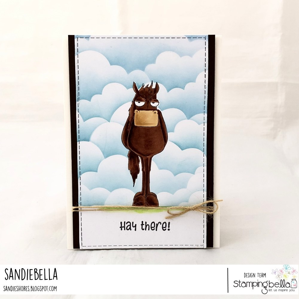 www.stampingbella.com: rubber stamp used ODDBALL FARM ANIMALS, DOWN ON THE FARM SENTIMENT SET card by Sandie Dunne