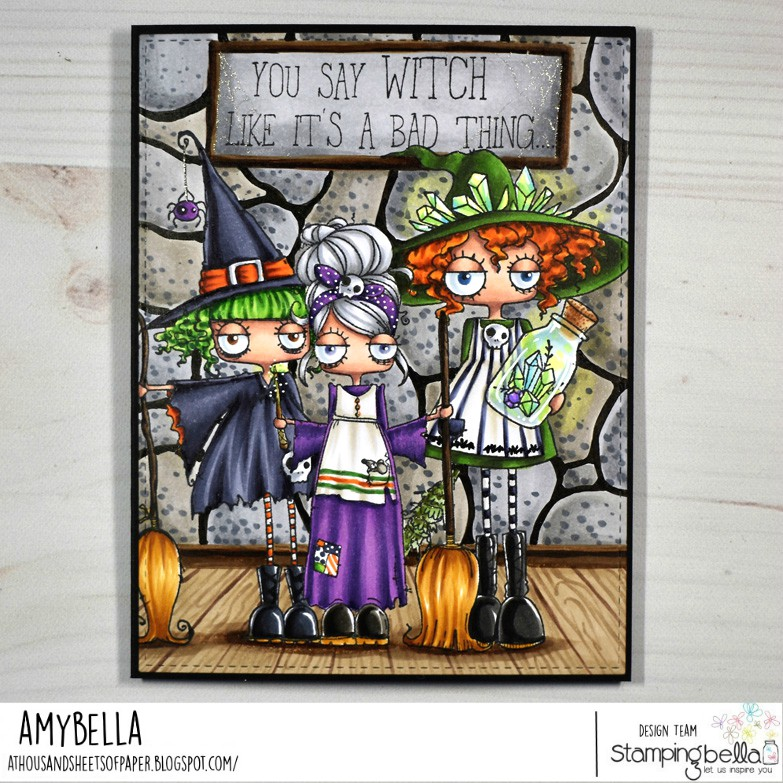 www.stampingbella.com: rubber stamp used: ODDBALL WITCH, ODDBALL CINDERELLA, SMUDGE AND CRYSTAL ODDBALL. Card by Amy Young