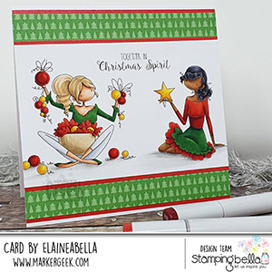 www.stampingbella.com. Rubber stamp used: BUNDLE GIRLS OPHELIA and ODELIA card by Elaine Hughes