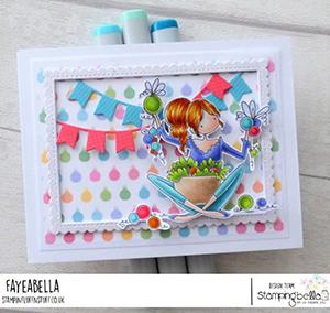 www.stampingbella.com. Rubber stamp used: BUNDLE GIRLS OPHELIA and ODELIA card by Faye Wynn Jones