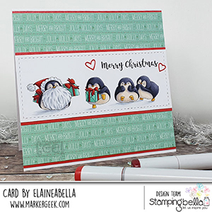 www.stampingbella.com: rubber stamp used Penguin Family. Card by Elaine Hughes