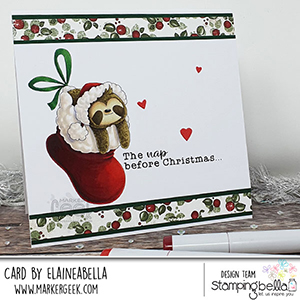 www.stampingbella.com. Rubber stamp used: Sloth in a stocking card by Elaine Hughes