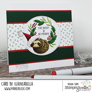 www.stampingbella.com. Rubber stamp used: Sloth on a wreath card by Elaine Hughes