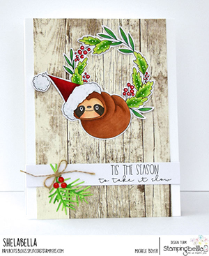 www.stampingbella.com. Rubber stamp used: Sloth on a wreath card by Michele Boyer