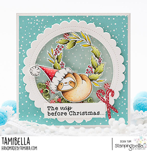 www.stampingbella.com. Rubber stamp used: Sloth on a wreath card by Tami Potocnik