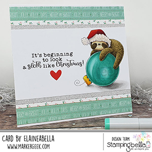 www.stampingbella.com. Rubber stamp used: SLOTH ORNAMENT card by Elaine Hughes