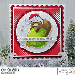 www.stampingbella.com. Rubber stamp used: SLOTH ORNAMENT card by Jenny Dix